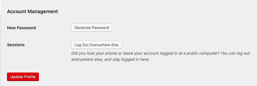 Account Management section of the user profile settings page