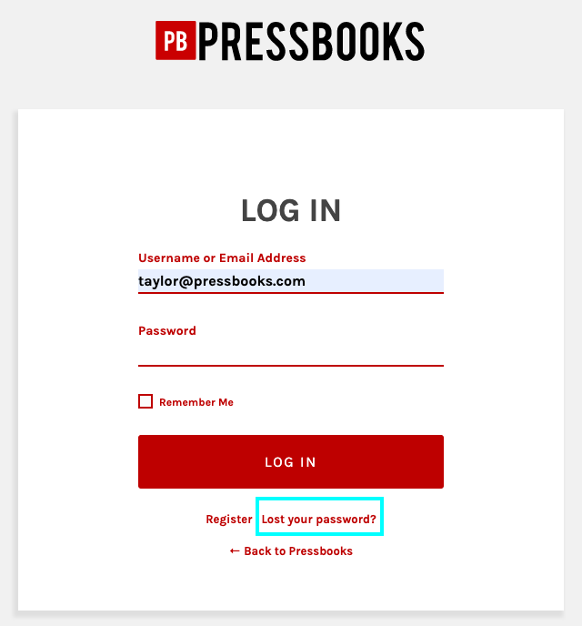 The Lost Your Password link on the log in form, highlighted.