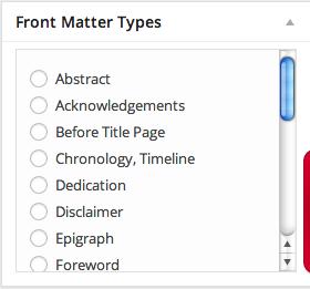 Front matter menu in Pressbooks