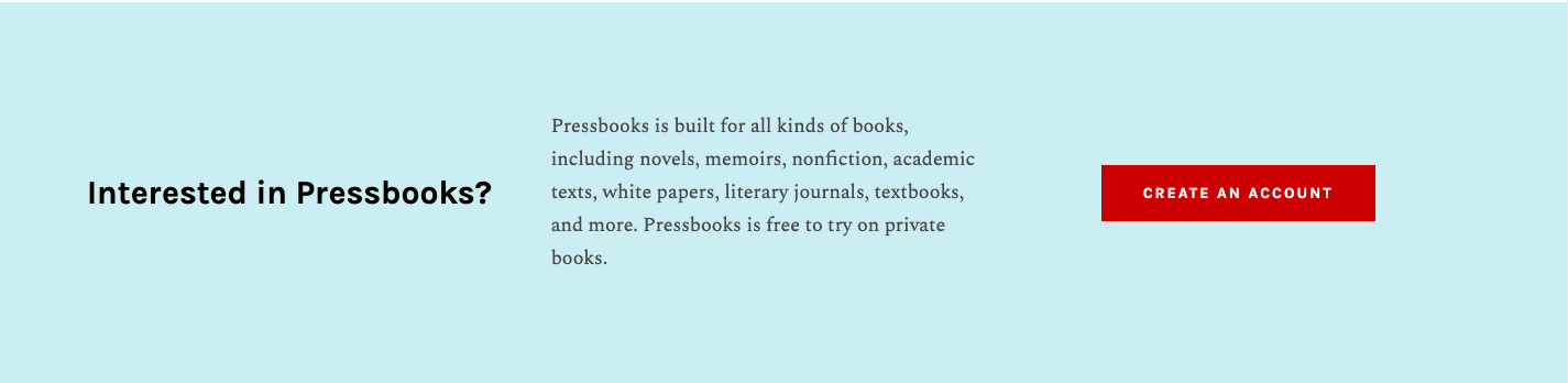 The Create An Account button on the Self-Publisher page of Pressbooks.com