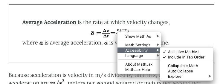 MathJax settings menu from webbook