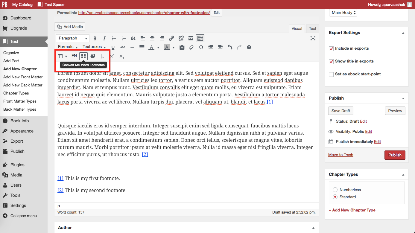 "After copying or importing Word doc, click ""Convert MS Word Footnotes"" button"