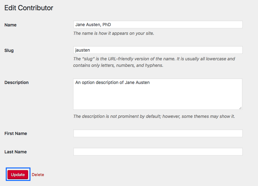 The Edit Contributor page with the Update button highlighted.