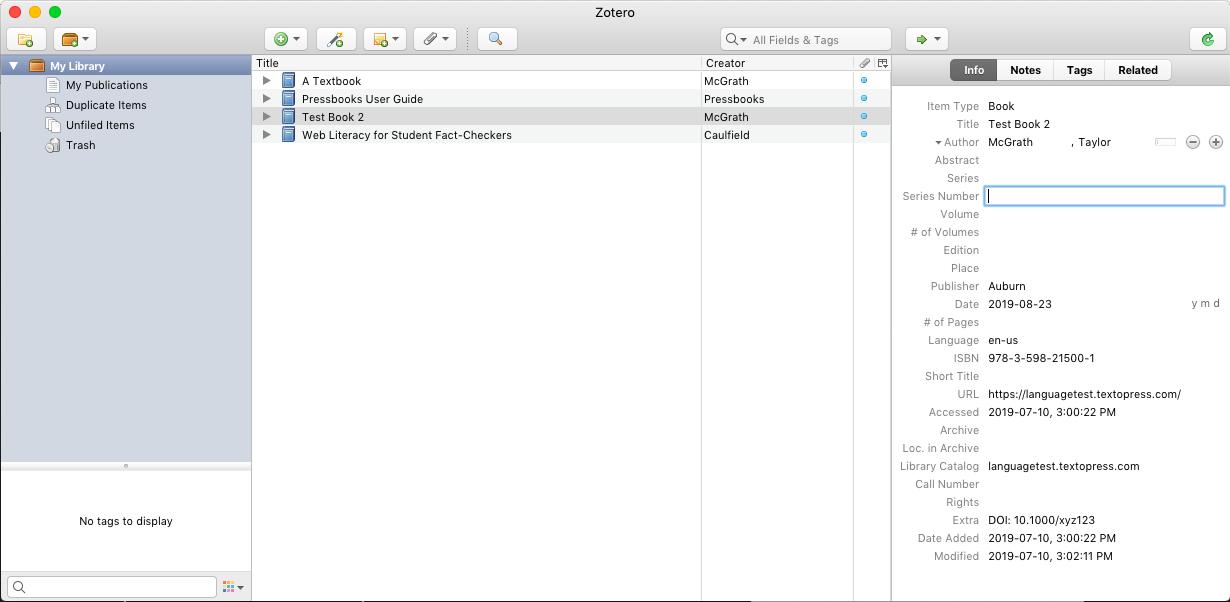 Zotero entry with metadata