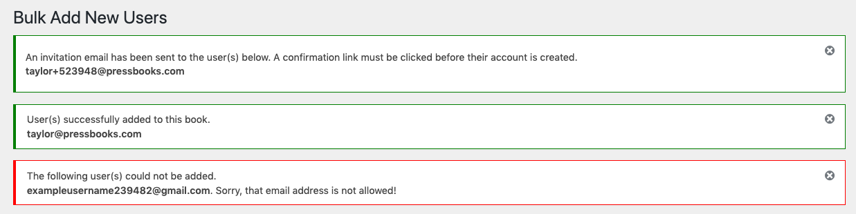 Bulk add user notifications and errors