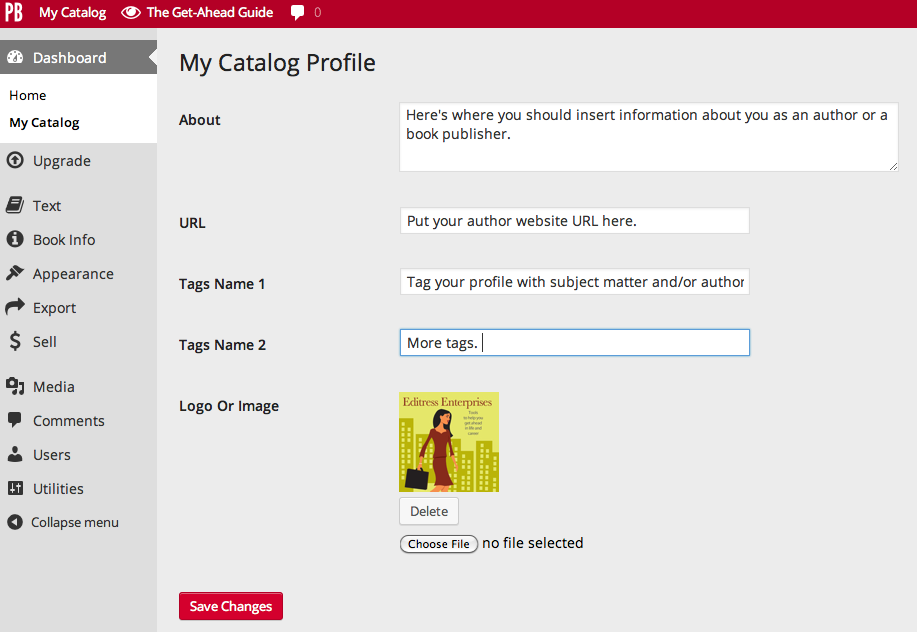 Catalog profile edit page