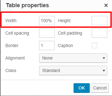 Width and Height properties in the table properties window