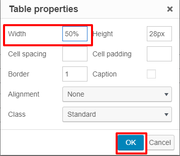 Width property set to 50%